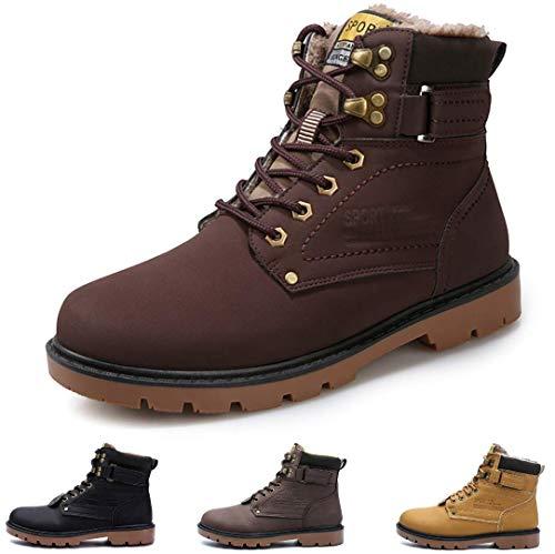 gracosy Hombre Botas de Senderismo Invierno Cálido 2019 Impermeables Antideslizante Ocio al Aire Libre Zapatos de Deporte Zapatillas de Senderismo Cordones Trainer Botas,Amarillo Marrón Negro