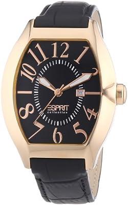 Esprit Collection hector rosegold EL101081F03 - Reloj analógico de cuarzo para hombre, correa de cuero color negro (agujas luminiscentes)