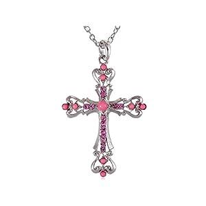 ALILANG Silber Strass synthetische Türkis Kristall Embedded Geschnitzte Heilig Kreuz Anhänger verbundene Ketten Halskette