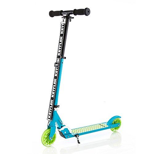 Kettler Scooter Zero 5 Zig-Zag – Kinderroller aus Aluminium mit Bremse, Ständer und verstellbarem Lenker – klappbarer Tretroller für Kinder und Erwachsene – mit modernem Zickzack-Muster – türkis, schwarz & grün