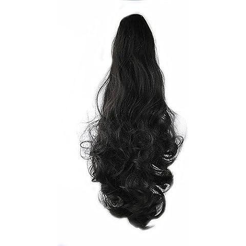 SONGYUNYANlunghezza 58 centimetri parrucca nera riccia sintetico ad alta temperatura del filo di scorrimento coda di cavallo di colore 4 - 4 Coda Riccia Sale