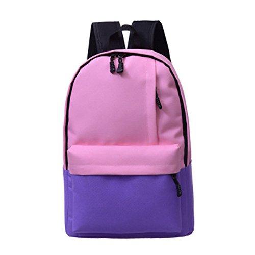 SaiDeng Étudiants Loisirs Sac À Dos Hit Color Sac D'École Sac Porté Épaule Pour Voyages Pink Violet