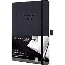 Sigel C1822 Wochenkalender 2018, ca. A5, Softcover, schwarz, CONCEPTUM - viele Modelle