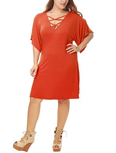 Allegra K Damen Übergröße Kurz Ärmel Riemchen Frontseite über dem Knie Dress Kleid, 1X/Orange (Drop-taille Formale Kleid)