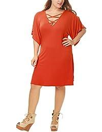 Agnes Orinda Femmes Grande Taille Manches courtes dentelle robe Swing avant