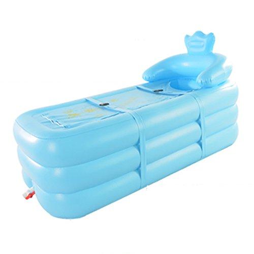 ERHANG Badewannenspritzschutz Aufblasbare Badewanne Erwachsenen PVC-Tragbare Faltende Aufblasbare Badewanne mit Luftpumpe Für Familien-Badezimmer-Badekurort,Blue