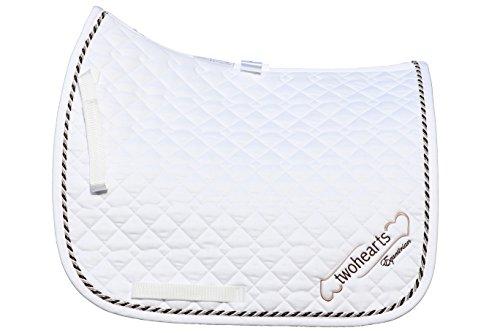 Schabracke Weiss Model SALIERI by twohearts (Premium Qualität Ergonomisch und Atmungsaktiv) (XL Dressur (ca 3 cm mehr Rückenlänge))