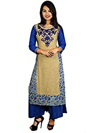 Cotton Embroidered Kurti With Solid Palazzo (Women's Clothing Kurti For Women Latest Designer Wear Kurti Collection...