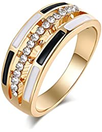 Aashya Mayro Valentine Gift Cubic Zirconia Gold Plated Trendy Geometric Design Black And White Enamel Ring For...