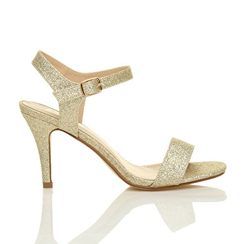Donna alto tallone partito caviglia cinghietti cinturino scarpe sandali numero Oro Luccichio Glitter