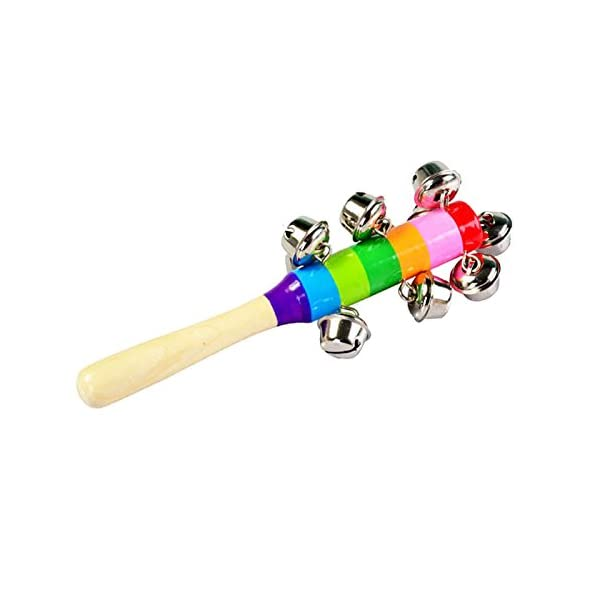 Lazzboy Kids Educational Toy, Colorful Wooden Shake Shaker Stick Bells Jingles Rhythm Music Instrument Enlighten Toy for Baby Children Kids Christmas Festival