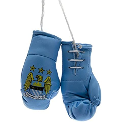 Fútbol Mini Boxeo Guantes - Manchester City FC, Aproximado 9cm x 5cm x 4cm