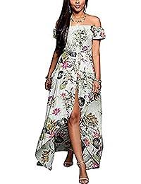a089a1d7e2720 Womens Bardot Plus Size Maxi Dress Off Shouder Boho Long Loose Beach  Holiday Sundress