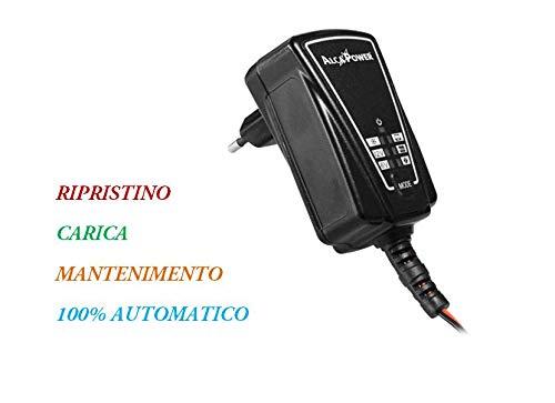 Caricabatteria mantenitore AlcaPower per AUTO MOTO MOTOSLITTE con switching Automatico, 1A, 6/12V 1.2-60Ah libretto istruzioni in italiano