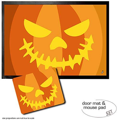 Set: 1 Fußmatte Türmatte (70x50 cm) + 1 Mauspad (23x19 cm) - Halloween, Kürbis-Gesicht