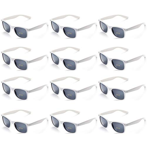 OAONNEA 12 Paare Lustige Neon Party Sonnenbrillen Set fur Kinder Damen Sommer 80er Uv400 (12Weiß)