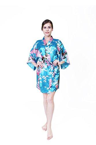 KEYNIS Damen Morgenmantel Satin Kimono Robe Bademantel Nachtwäsche mit Pfau und Blumen Kurze Blue