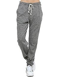 T-INSIDE Pantalon de Jogging Femme Coton avec Cordon de Serrage Grande  Taille Haute en b312998b87c