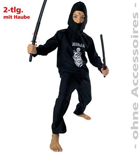Japanische Mädchen Kostüm Krieger (Kinder-Kostüm Ninja schwarz Jungen-Kostüm Mädchen-Kostüm Kämpfer Karate Kung-Fu Asien (Gr.)
