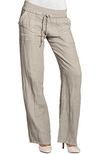 CASPAR KHS025 Damen Leinenhose, Farbe:beige;Größe:42 XL UK14 US12