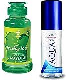 Essbares Erotik Massage-Öl Set Sexöl mit aphrodisierend Limette Kaktus Duft Geschmack wärmend (100ml.) & Aqua wasserbassiertes Gleitmittel (100ml.) Liebesöl für Körper-Massagen Paar Intim-Massagen