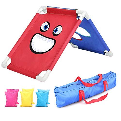 ZEHNHASE Cornhole Spiel Set, Sport Sandsack Brettset mit 6 Sitzsäcken und Reisetasche für das Strandspiel im Freien