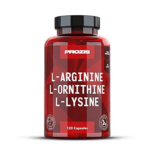 Prozis L-Arginin-L-Ornithin L-Lysin 120 Kapseln - Essentieller Aminosäurenkomplex zur Unterstützung der kardiovaskulären Gesundheit, Gewichtsverlust und Energie