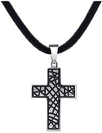DonDon Herren Halskette Kautschuk 50 cm und Anhänger Kreuz zweifarbig aus Edelstahl in einem Geschenkbeutel