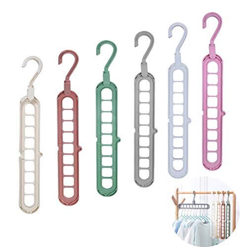 QYY 6 pcs Cintres en Plastique de Qualité Supérieure, Ouverture en Forme de S, Crochet Pivotant à 360 °, Organisateur de Garde-Robe Magique, Cintres Suspendus - 6 Couleurs