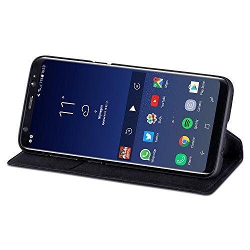 """Housse iPhone 6 / 6s Cuir Marron - KANVASA """"Pro"""" Coque Portefeuille en Vrai Cuir Haut de Gamme pour iPhone 6/6s d'Apple - Étui à Rabat Ultra Mince avec Fermeture Magnétique & Poche de Cartes Noir S8"""
