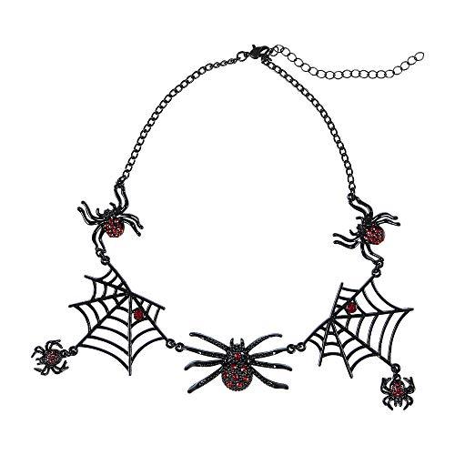 WIDMANN 09662 Halskette mit Strassspinnen, Damen, Silber/Schwarz, Taglia (Rote Kostüm Schmuck)
