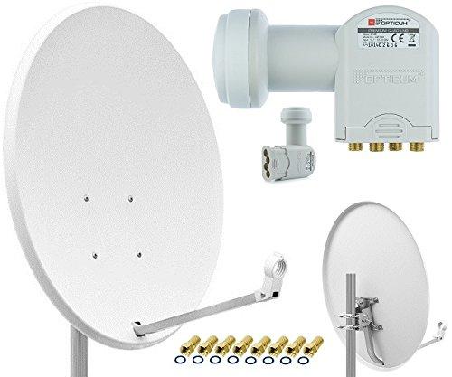 Opticum X80 Satelliten-Antenne Quad-Set (80 cm, Stahl - lichtgrau, TÜV zertifiziert, mit Quad LNB LQP-04H) inkl. 8x F-Stecker gratis