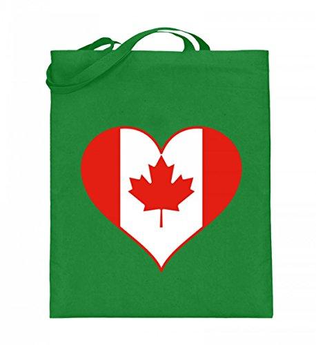 Hochwertiger Jutebeutel (mit langen Henkeln) - Jutebeutel Kanada Light Green