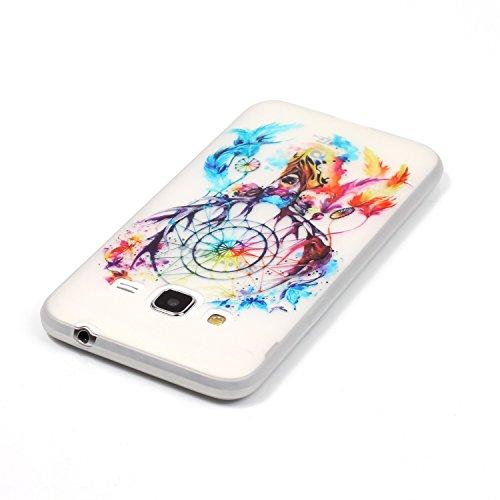 CaseHome Samsung Galaxy J310/J3 (2016) Luminous Hülle (Mit Frie Displayschutzfolie) Leuchtende Silikone Rückhülle Für iPhone 6 6s Plus 5.5 Zoll Zoll Silikon Etui Handy Hülle Weiche Transparente Lumino Bunte Traumfänger