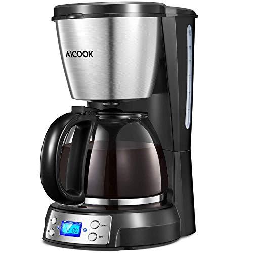 Kaffeemaschine Aicook, Display mit Zeitanzeige, Filterkaffeenaschine mit Glaskanne, Permanenter Filter, Edelstahlgehäuse, 1500ML Wassertank für 1- 12Tassen,  Wasseranzeige, Schwarz