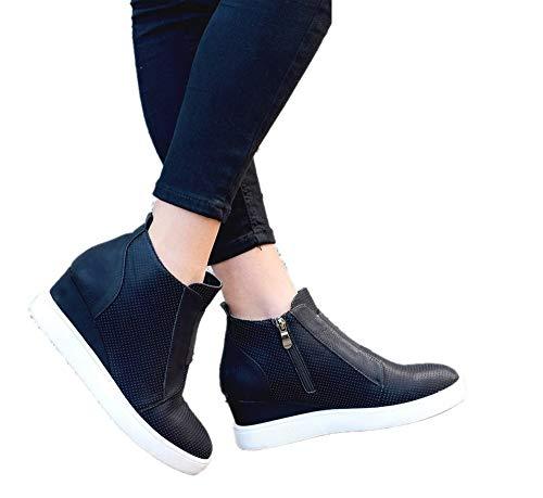 Sneakers Donna Zeppa Alte Stivaletti con Tacco Scarpe Eleganti Sport Ginnastica Pelle Mocassini Invernali Zip 4.5cm Ankle Boots Rosa Cachi Blu 34-43 BK37