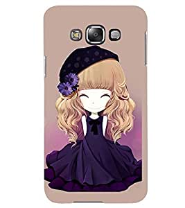 Printvisa Animated Girl With Blue Dress And Flowers In Hair Back Case Cover for Samsung Galaxy A8::Samsung Galaxy A8 A800F