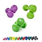 PROMIC 12KG(3Paar) Kurzhantelnset, 2x1KG 2x2KG 2x3KG, Vinyl Gymnastikhanteln, Hanteln Set mit gutem Grip, Rutschfeste Übungshanteln, Gewichte Hanteln Set für Aerobic Pilates