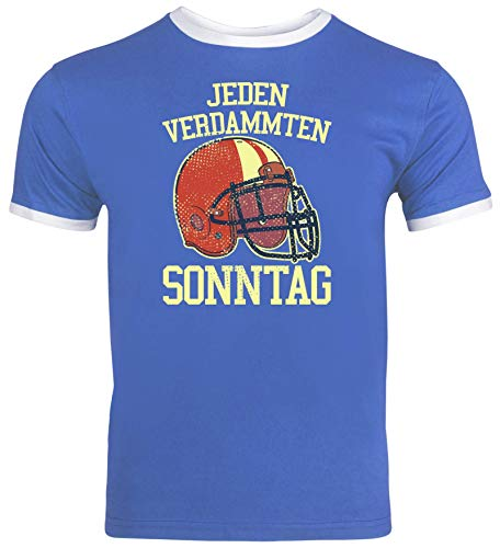 American Football Gruppen Fan Herren Männer Ringer Trikot T-Shirt Jeden Verdammten Sonntag 2, Größe: XL,Royal Blue/White