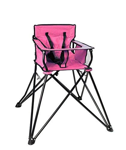 Vetrineinrete® sediolone pieghevole per bimbi da campeggio gita in montagna al mare pratico e comodo seggiolone sedia con tavolino per bambino bambina viaggio escursione (rosa) f28