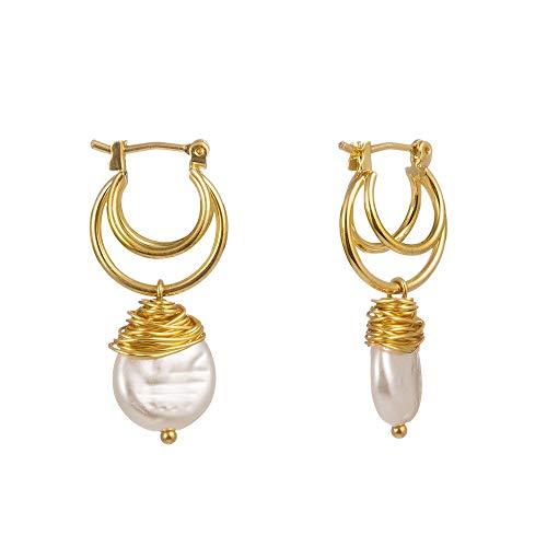 YUANEHHK Damen Ohrringe Barock Vintage Matte Metall Gold Geprägte Porträt Skulptur Klavier Natürliche Unregelmäßige Süßwasserperlen Ohrringe Für Frauen Mädchen Barock-skulptur