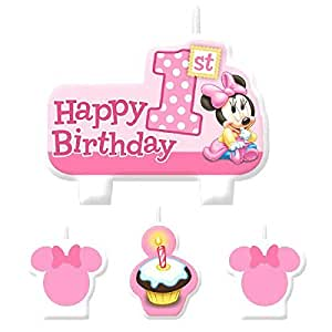 4 Bougies 1er anniversaire pour fille Disney Minnie Mouse