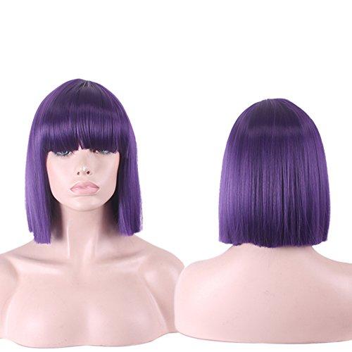 Urparcel Cheveux longue Lisse Perruque courte synthétique Perruque Bob Naturel Pour Femme Vie quotidienne 360 Violet