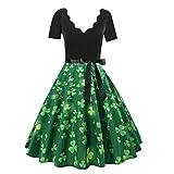 Damen Mode Gürtel Kleid Kurzarm V-Ausschnitt Knielanger Rock(Grün,XL)