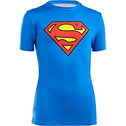Under Armour Fitness T-Shirt und Tank UA Alter Ego Baselayer Superman - Camiseta de running para niño, color azul, talla S