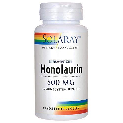 Solaray, Monolaurin 500mg (Glycerylmonolaurat aus Kokosnuss), 60 Vegetarische Kapseln, natürliche Kokusnussquelle -