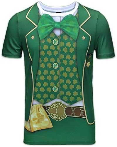 Patricks Day Shirt (Cosavorock ST. Patrick's Day Leprechaun Kostüm Klee T-Shirts Herren (AS:3XL, EUR:XL, Geldbeutel))