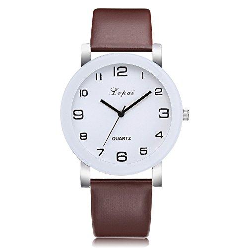 Armbanduhr Damen Ronamick Lvpai Damen Casual Quarz Lederband Uhr Analoge Armbanduhr Armband Armbanduhr Uhr Uhren(L)