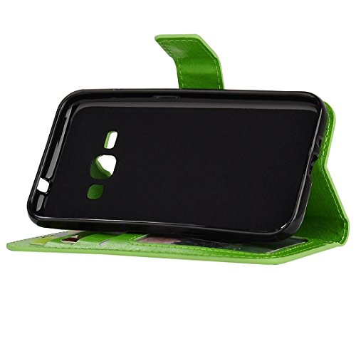 Für Samsung Galaxy J1 (2016) Solid Color Crazy Pferd Textur Horizontale Flip PU Leder Cover Case mit Halter & Card Slots & Wallet & Lanyard by diebelleu ( Color : Blue ) Green