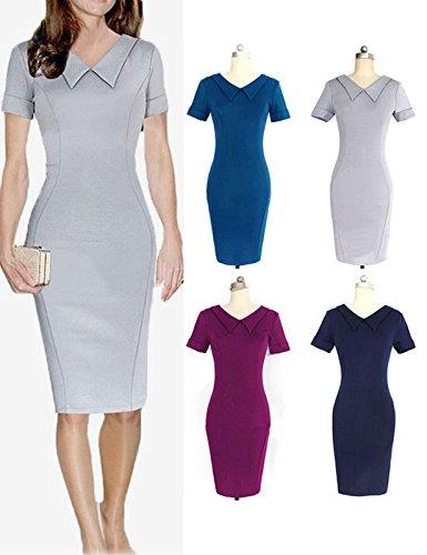 VKStar® Retro Frauen V-Ausschnitt Abendkleid Büro Bleistiftkleid Kurzarm Geschäftskleid Cocktailkleid Partykleid Grau